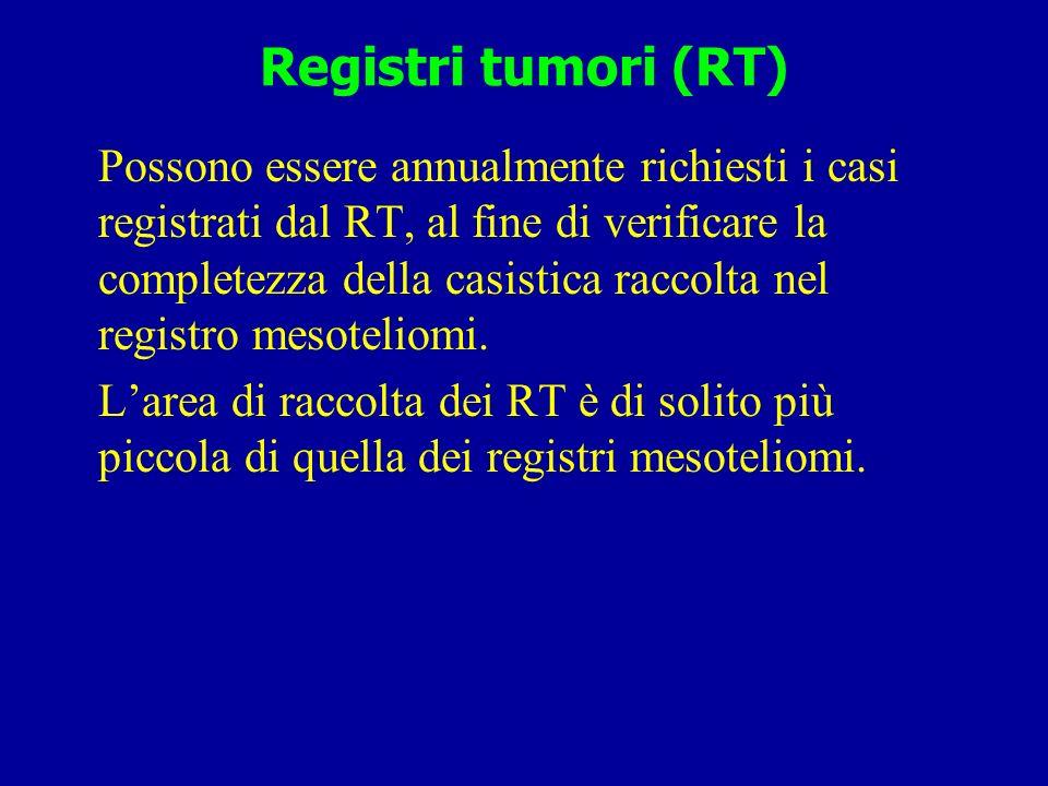 Registri di mortalità (RM) Possono essere richiesti annualmente i certificati di decesso codif.
