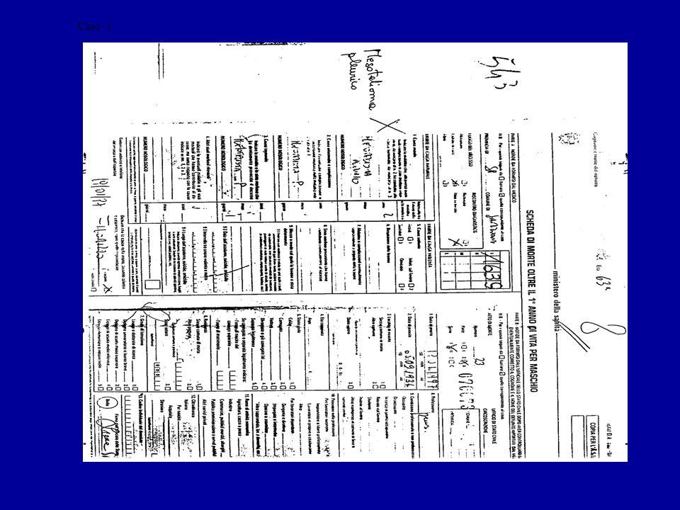 frontespizio di cartella clinica con riportato come diagnosi principale MM TAC che suggerisce patologia a pertinenza pleurica Certificato di morte con parola mesotelioma sospetto di tumore maligno della pleura Data di incidenza:data del referto della TAC