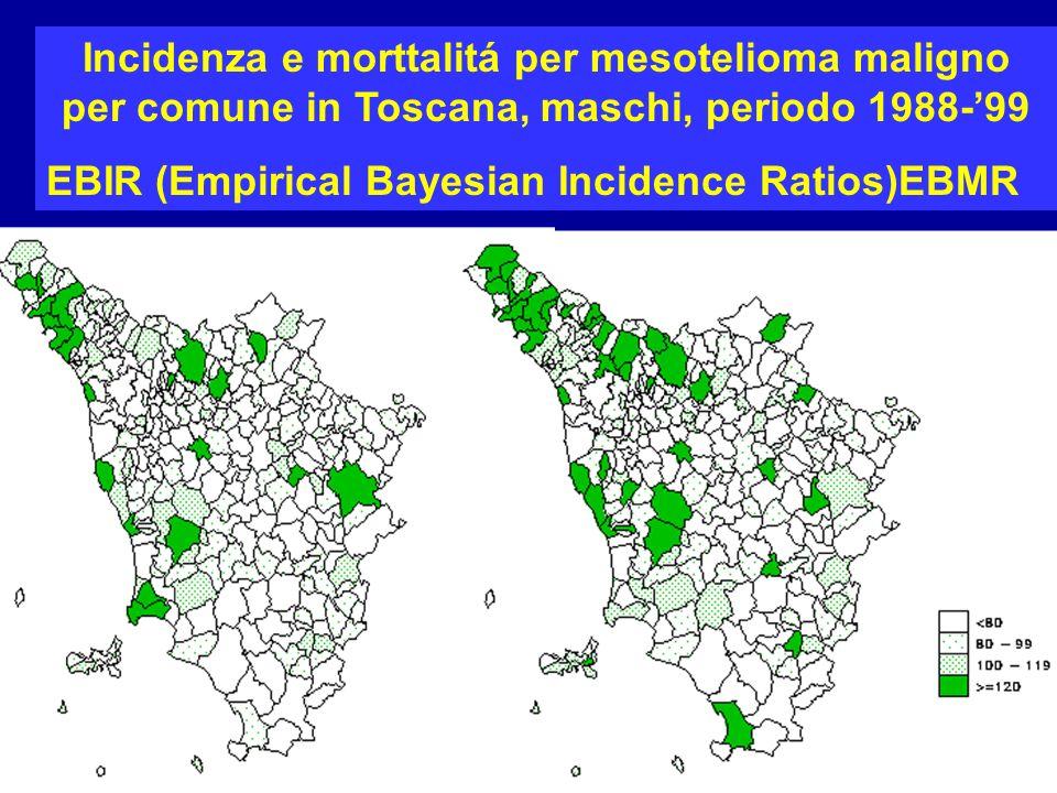 Confronto registro mesoteliomi-registro mortalita, Toscana, maschi presenti assenti TOTALE presenti 154 102256 assenti 34 TOTALE 188 Il 73% dei decessi per ICD 163 sono mesoteliomi Registro mesoteliomi, deceduti 1994-1999 ICD 163 1994-1999