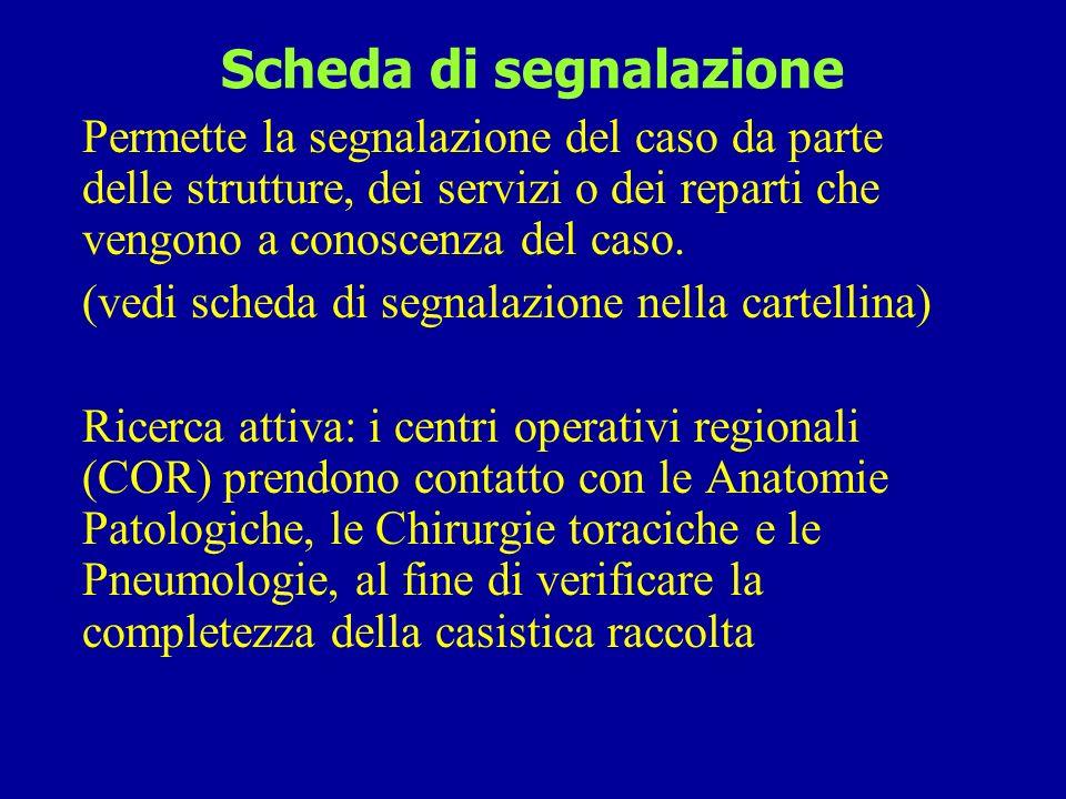 Schede di dimissione ospedaliera (SDO) -1 con diagnosi alla dimissione ICD IX 163 (tumore maligno della pleura) o ICD IX 158 (tumore maligno del peritoneo e del retroperitoneo) Una volta eliminati i ricoveri ripetuti e i casi già presenti nel registro, è possibile richiedere fotocopia delle cartelle cliniche.