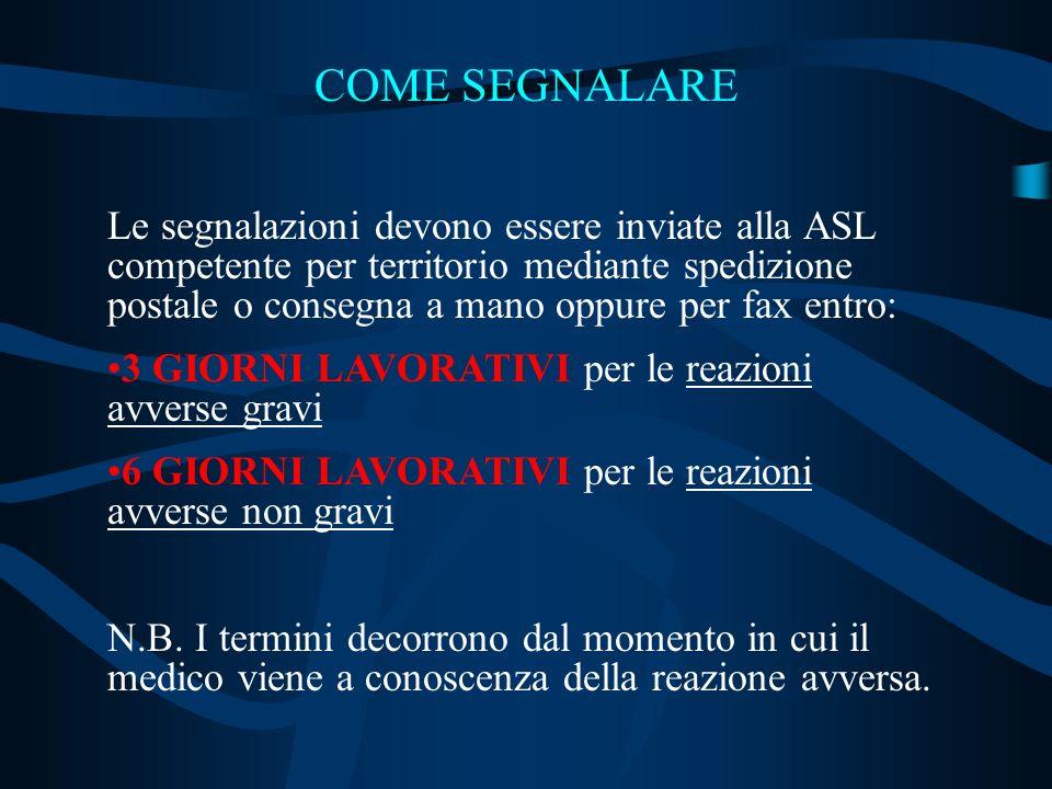 COME SEGNALARE Le segnalazioni devono essere inviate alla ASL competente per territorio mediante spedizione postale o consegna a mano oppure per fax e