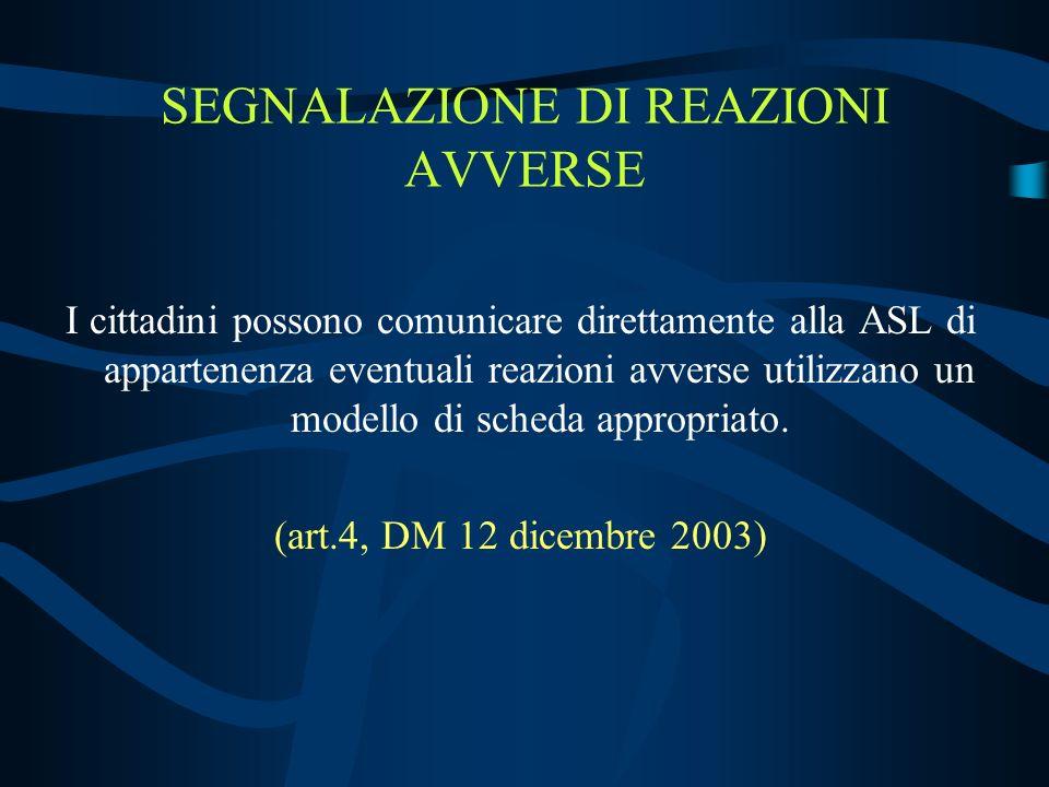 SEGNALAZIONE DI REAZIONI AVVERSE I cittadini possono comunicare direttamente alla ASL di appartenenza eventuali reazioni avverse utilizzano un modello