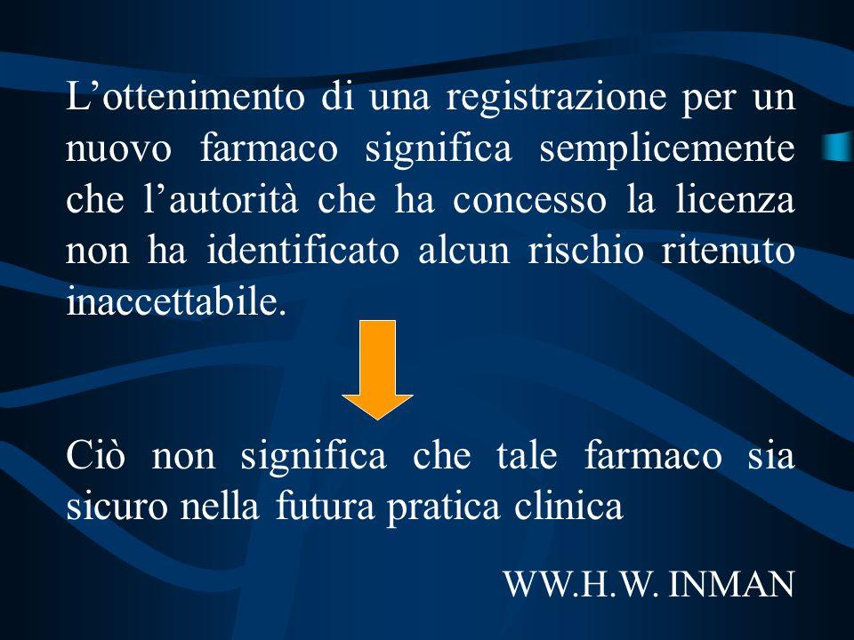 Lottenimento di una registrazione per un nuovo farmaco significa semplicemente che lautorità che ha concesso la licenza non ha identificato alcun risc