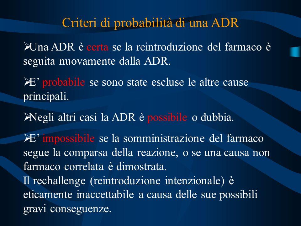 Criteri di probabilità di una ADR Una ADR è certa se la reintroduzione del farmaco è seguita nuovamente dalla ADR. E probabile se sono state escluse l