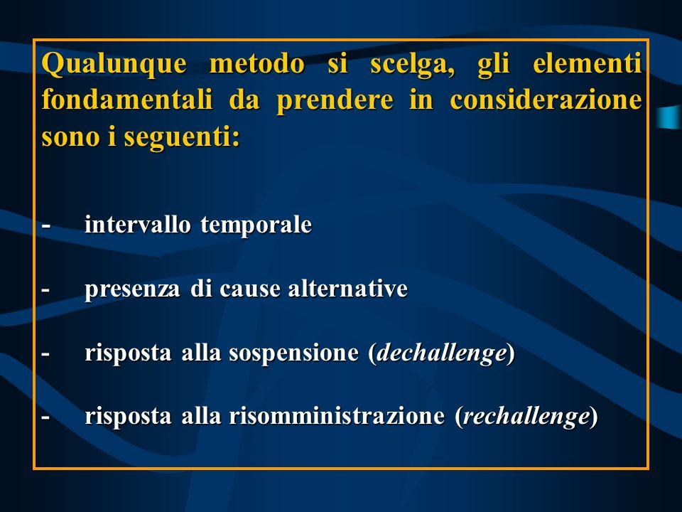 Qualunque metodo si scelga, gli elementi fondamentali da prendere in considerazione sono i seguenti: - intervallo temporale -presenza di cause alterna