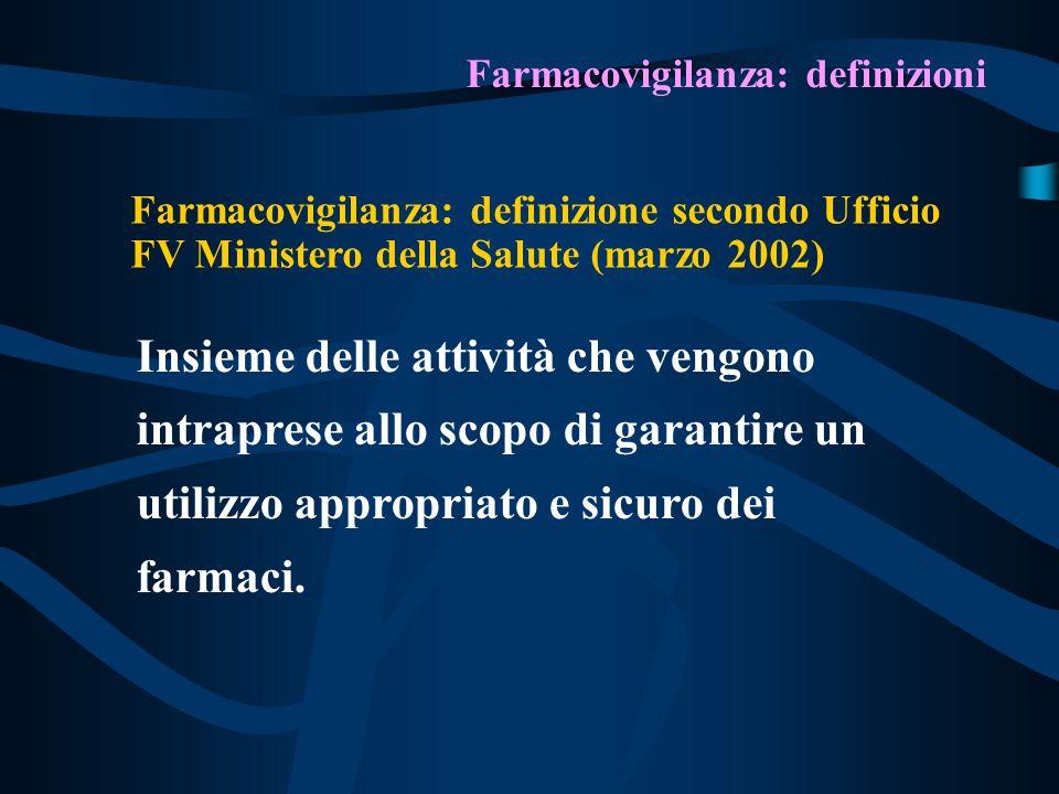 Farmacovigilanza: definizioni Farmacovigilanza: definizione secondo Ufficio FV Ministero della Salute (marzo 2002) Insieme delle attività che vengono