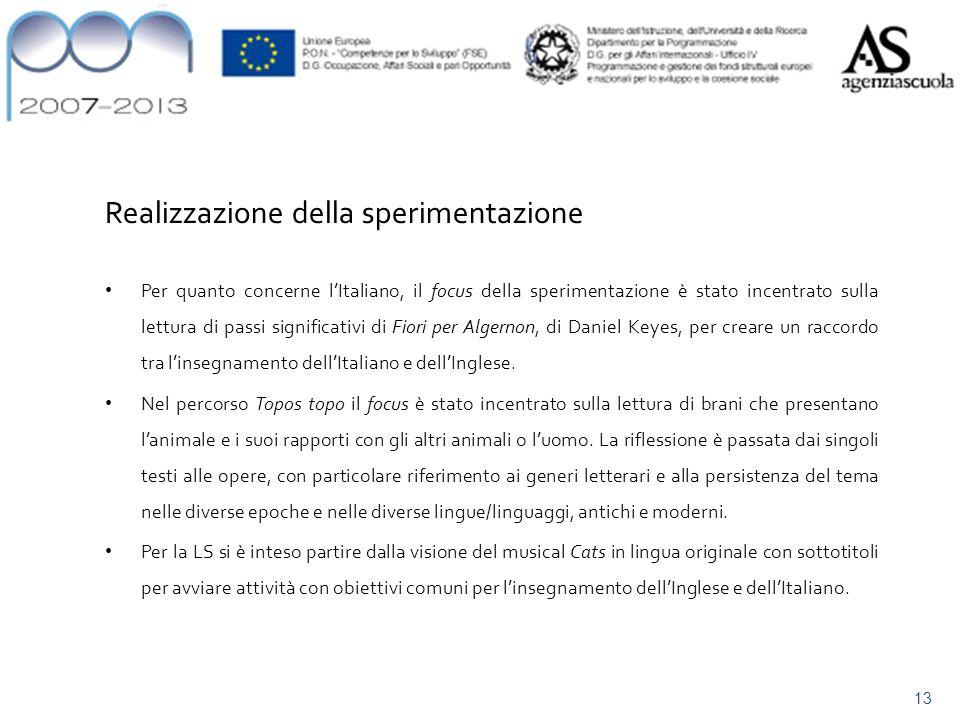 Contenuti/attività Realizzazione della sperimentazione Per quanto concerne lItaliano, il focus della sperimentazione è stato incentrato sulla lettura di passi significativi di Fiori per Algernon, di Daniel Keyes, per creare un raccordo tra linsegnamento dellItaliano e dellInglese.