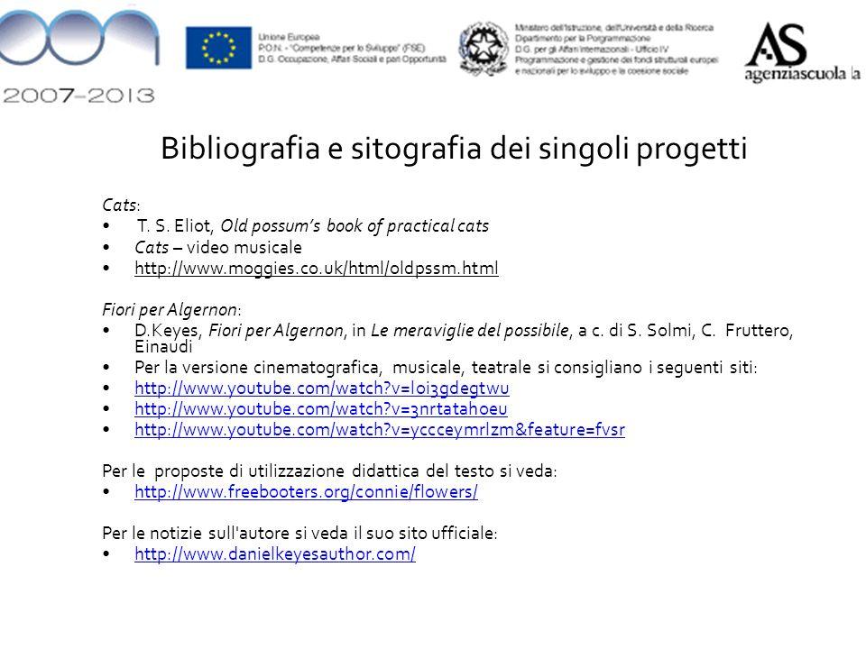 Bibliografia e sitografia dei singoli progetti Cats: T.