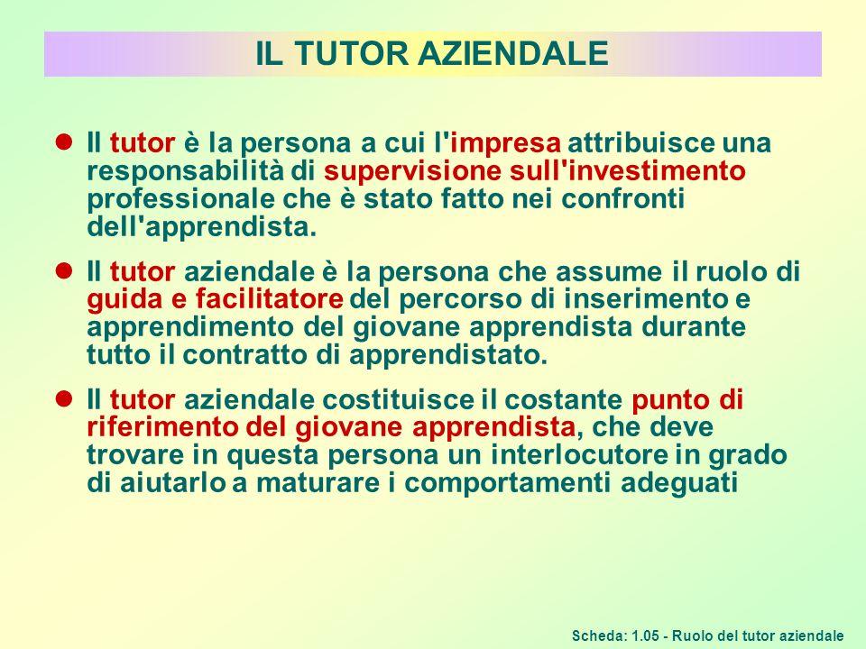 IL TUTOR AZIENDALE Scheda: 1.05 - Ruolo del tutor aziendale Il tutor è la persona a cui l'impresa attribuisce una responsabilità di supervisione sull'