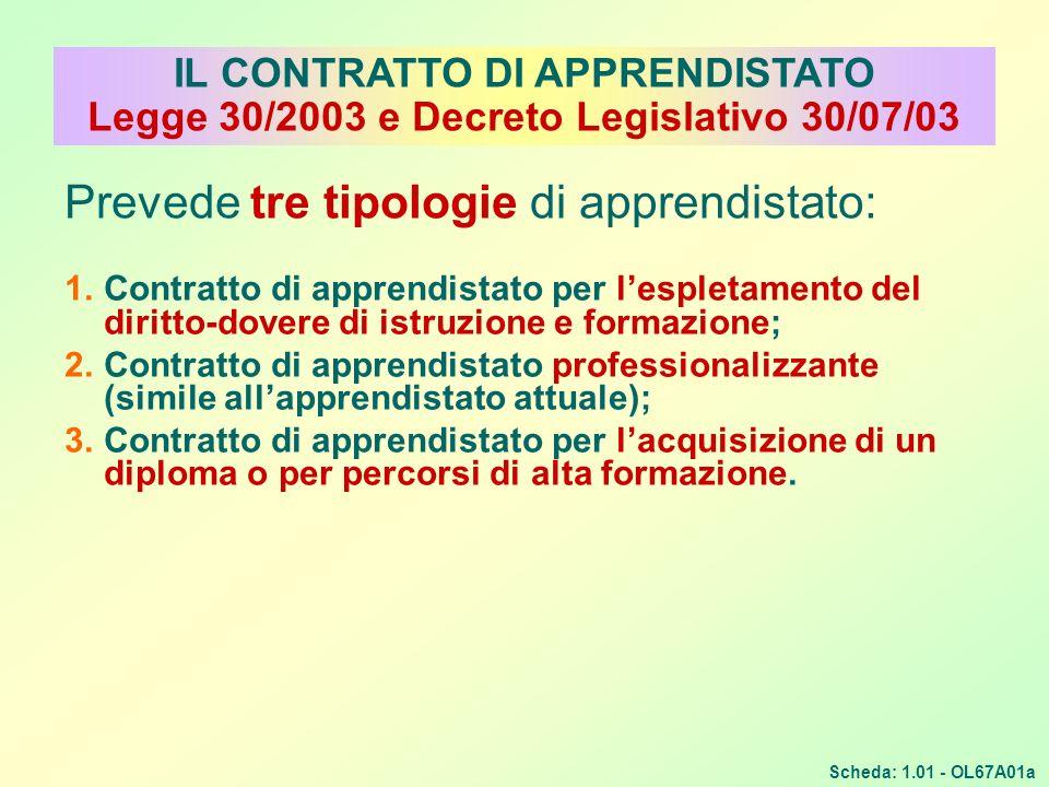 Prevede tre tipologie di apprendistato: 1.Contratto di apprendistato per lespletamento del diritto-dovere di istruzione e formazione; 2.Contratto di a