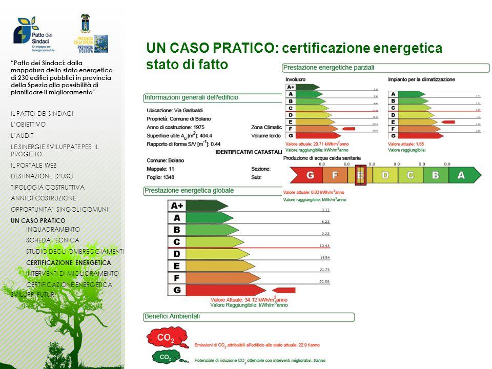 UN CASO PRATICO: certificazione energetica stato di fatto Patto dei Sindaci: dalla mappatura dello stato energetico di 230 edifici pubblici in provinc