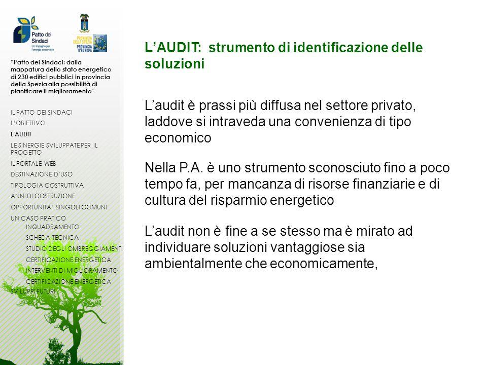 LAUDIT: strumento di identificazione delle soluzioni Laudit è prassi più diffusa nel settore privato, laddove si intraveda una convenienza di tipo eco