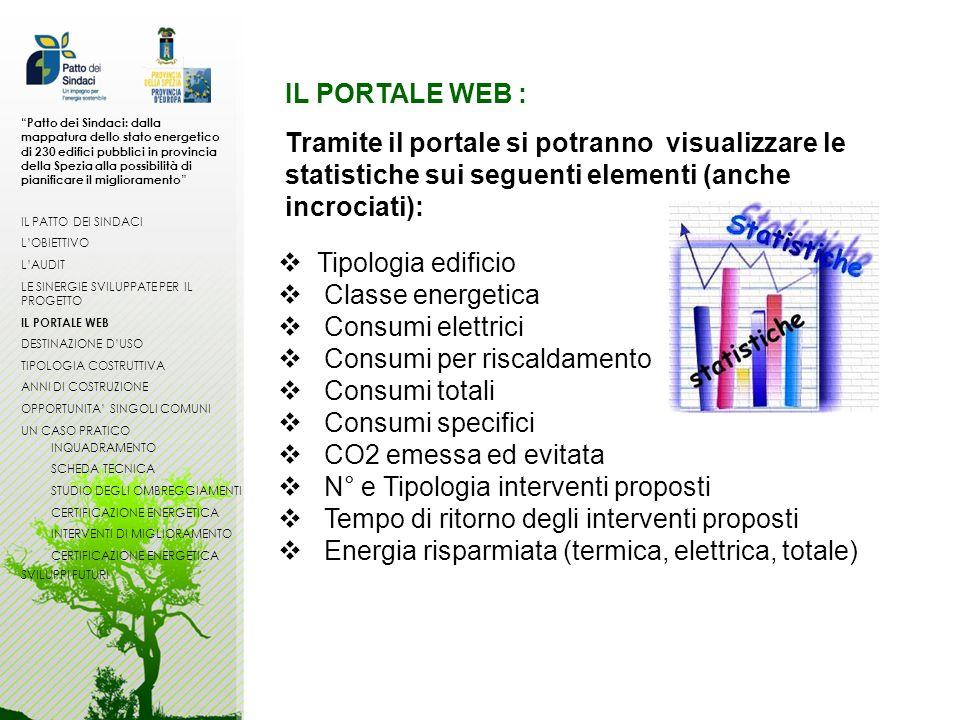 Tramite il portale si potranno visualizzare le statistiche sui seguenti elementi (anche incrociati): IL PORTALE WEB : Tipologia edificio Classe energe
