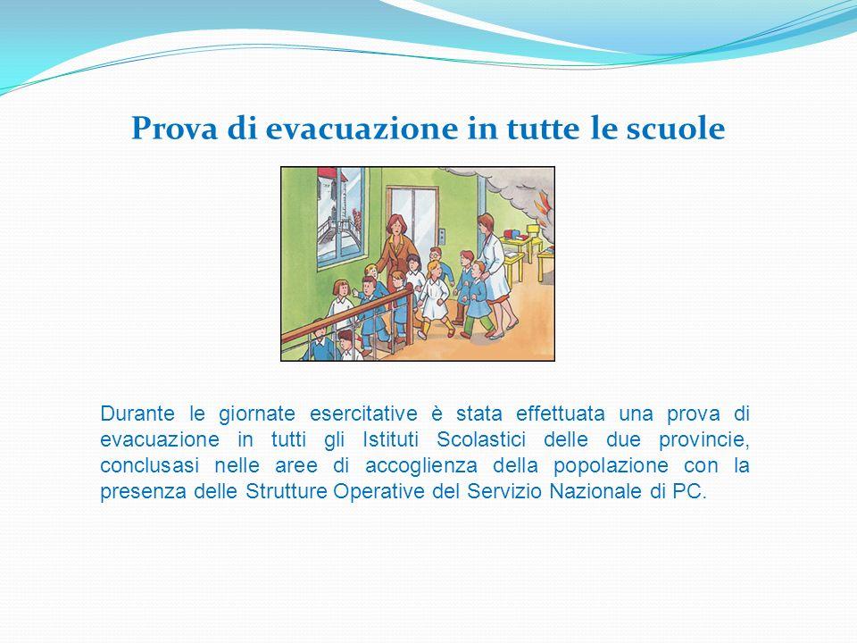 Prova di evacuazione in tutte le scuole Durante le giornate esercitative è stata effettuata una prova di evacuazione in tutti gli Istituti Scolastici