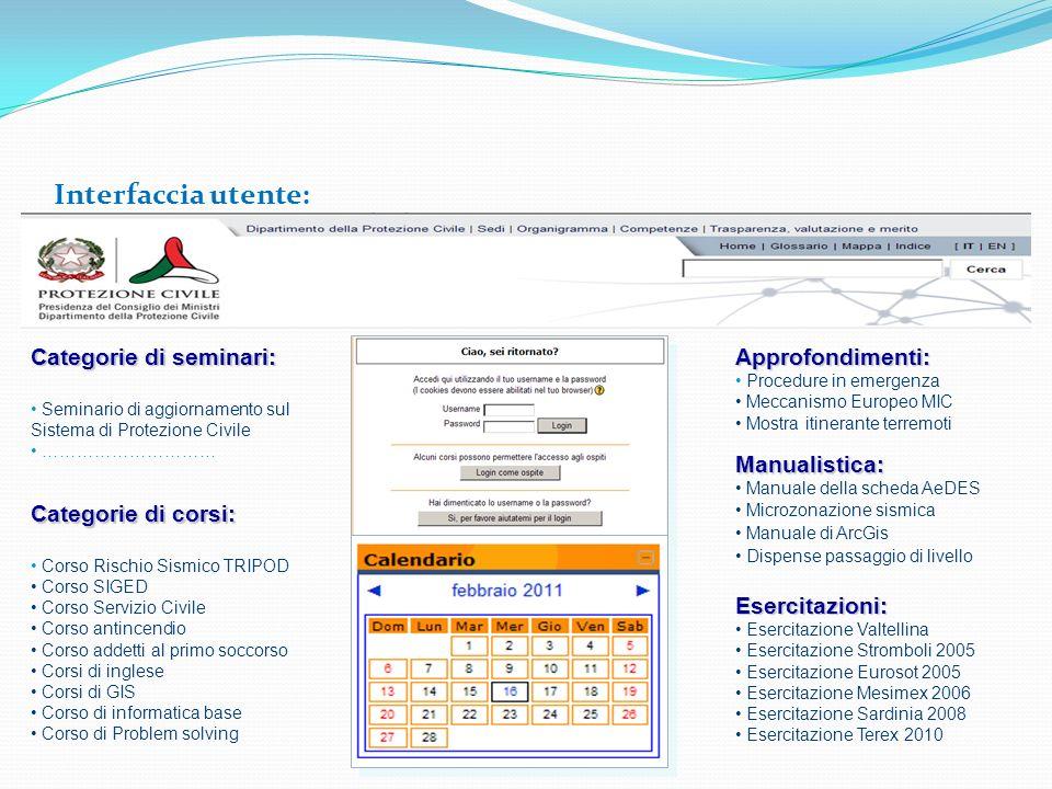 Interfaccia utente: Categorie di seminari: Seminario di aggiornamento sul Sistema di Protezione Civile ………………………… Categorie di corsi: Corso Rischio Si
