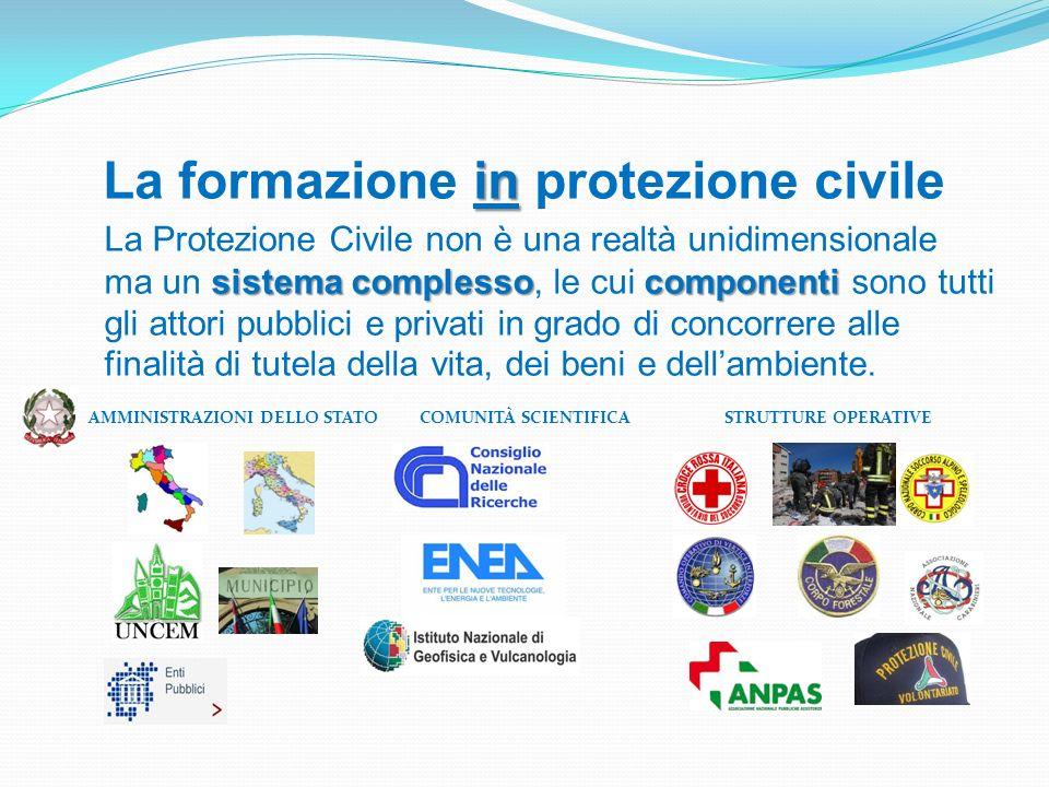 in La formazione in protezione civile sistema complessocomponenti La Protezione Civile non è una realtà unidimensionale ma un sistema complesso, le cu