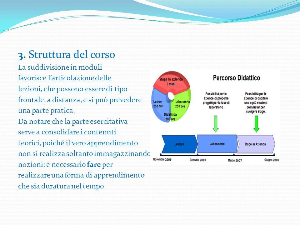 3. Struttura del corso La suddivisione in moduli favorisce larticolazione delle lezioni, che possono essere di tipo frontale, a distanza, e si può pre