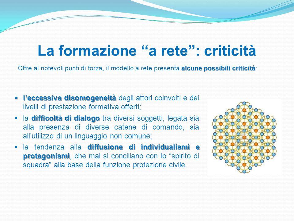 La formazione a rete: criticità alcune possibili criticità Oltre ai notevoli punti di forza, il modello a rete presenta alcune possibili criticità: le