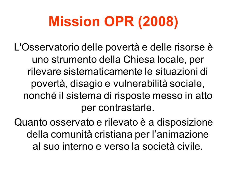 Mission OPR (2008) L Osservatorio delle povertà e delle risorse è uno strumento della Chiesa locale, per rilevare sistematicamente le situazioni di povertà, disagio e vulnerabilità sociale, nonché il sistema di risposte messo in atto per contrastarle.