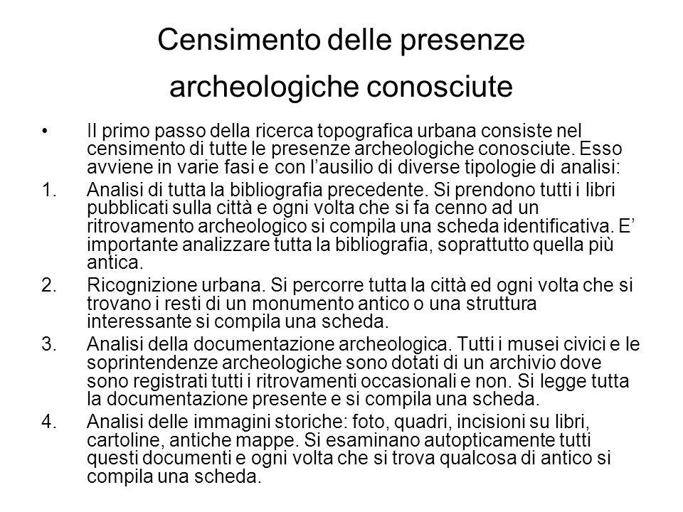 Censimento delle presenze archeologiche conosciute Il primo passo della ricerca topografica urbana consiste nel censimento di tutte le presenze archeo