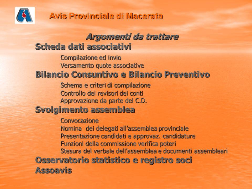 Avis Provinciale di Macerata Osservatorio Associativo e Registro Soci