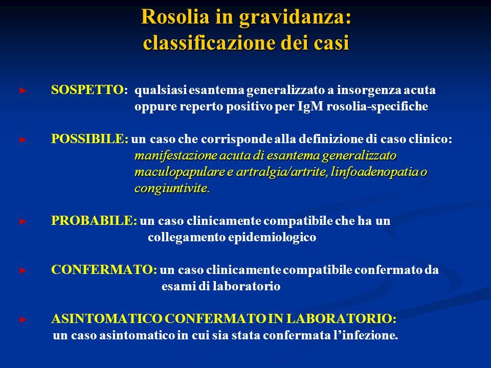 Rosolia in gravidanza: classificazione dei casi SOSPETTO: qualsiasi esantema generalizzato a insorgenza acuta oppure reperto positivo per IgM rosolia-specifiche POSSIBILE: un caso che corrisponde alla definizione di caso clinico: manifestazione acuta di esantema generalizzato maculopapulare e artralgia/artrite, linfoadenopatia o maculopapulare e artralgia/artrite, linfoadenopatia o congiuntivite.
