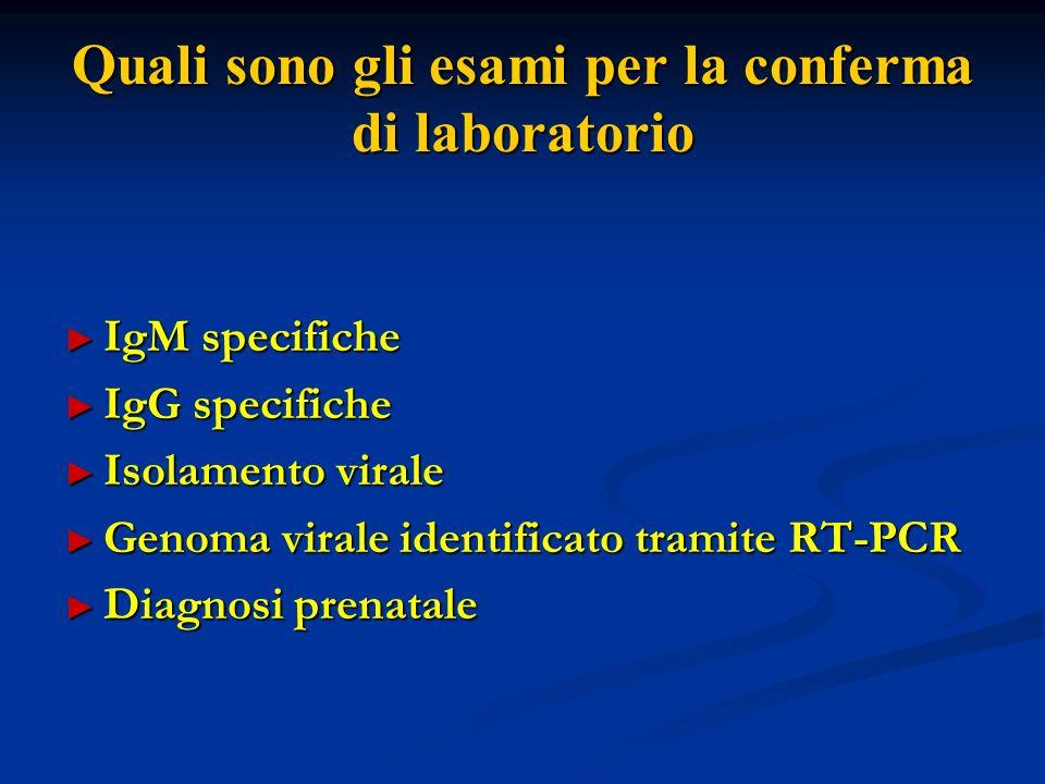 Quali sono gli esami per la conferma di laboratorio IgM specifiche IgM specifiche IgG specifiche IgG specifiche Isolamento virale Isolamento virale Genoma virale identificato tramite RT-PCR Genoma virale identificato tramite RT-PCR Diagnosi prenatale Diagnosi prenatale