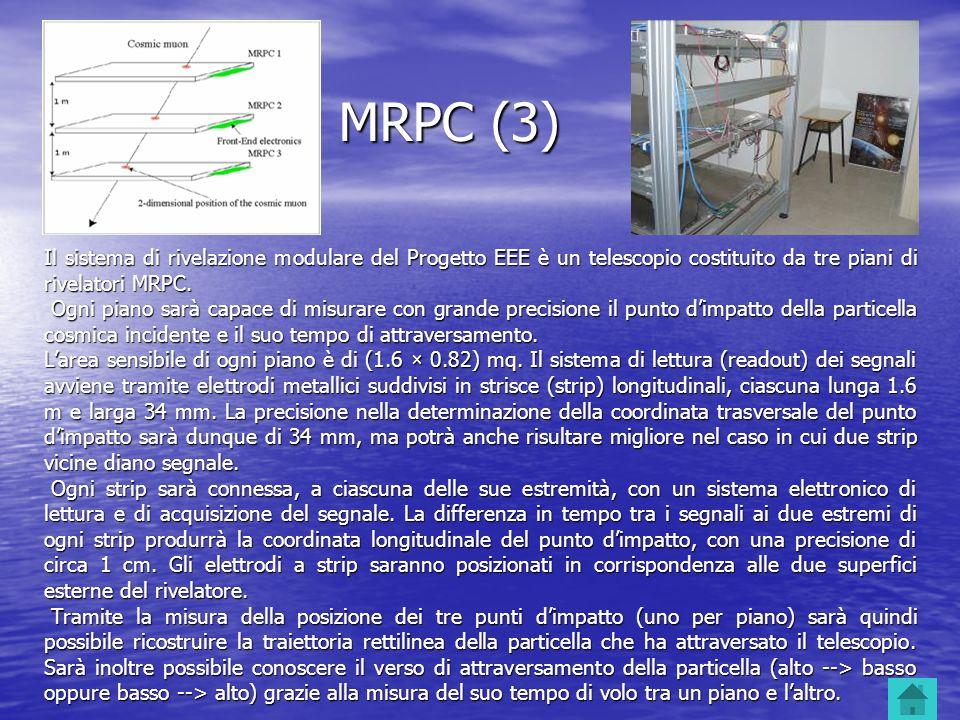MRPC (3) Il sistema di rivelazione modulare del Progetto EEE è un telescopio costituito da tre piani di rivelatori MRPC. Ogni piano sarà capace di mis