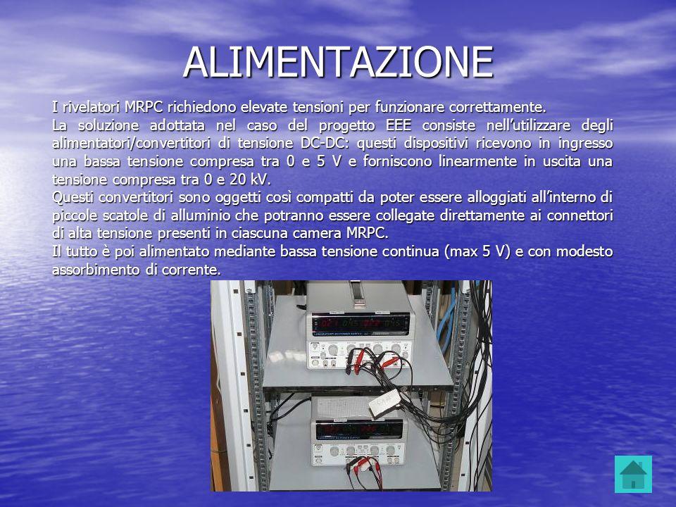 ALIMENTAZIONE I rivelatori MRPC richiedono elevate tensioni per funzionare correttamente. La soluzione adottata nel caso del progetto EEE consiste nel