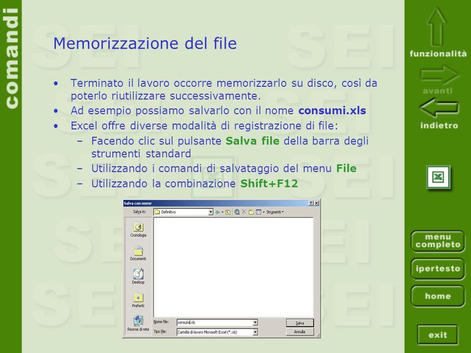 Memorizzazione del file Terminato il lavoro occorre memorizzarlo su disco, così da poterlo riutilizzare successivamente.