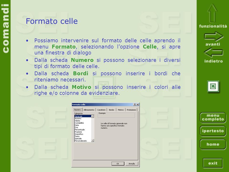 Formato celle Possiamo intervenire sul formato delle celle aprendo il menu Formato, selezionando lopzione Celle, si apre una finestra di dialogo Dalla scheda Numero si possono selezionare i diversi tipi di formato delle celle.