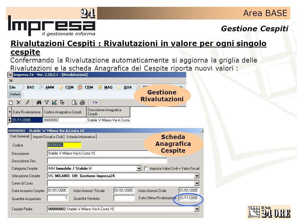 Area BASE Gestione Cespiti Rivalutazioni Cespiti : Rivalutazioni in valore per ogni singolo cespite Confermando la Rivalutazione automaticamente si ag