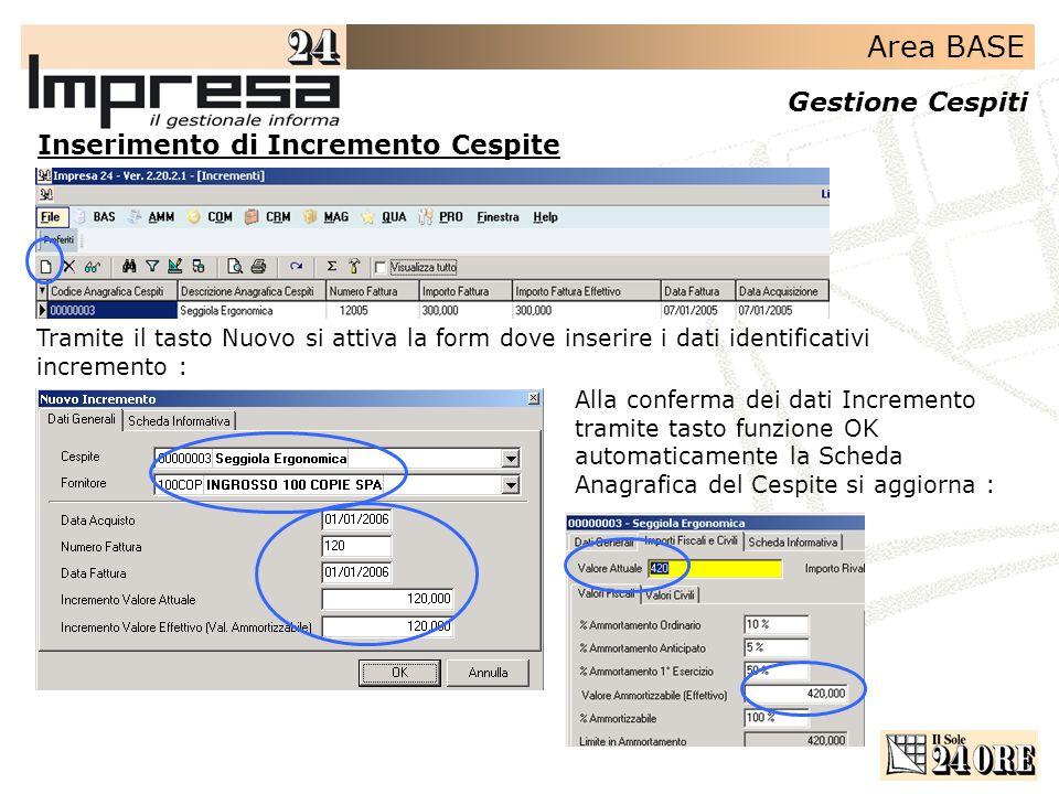 Area BASE Gestione Cespiti Inserimento di Incremento Cespite Tramite il tasto Nuovo si attiva la form dove inserire i dati identificativi incremento :