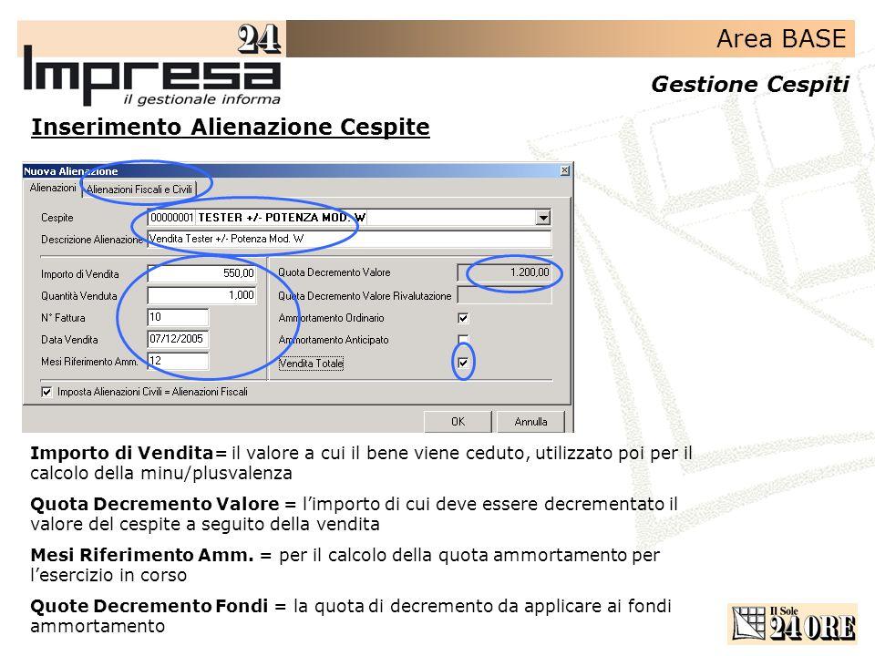 Area BASE Gestione Cespiti Inserimento Alienazione Cespite Importo di Vendita= il valore a cui il bene viene ceduto, utilizzato poi per il calcolo del