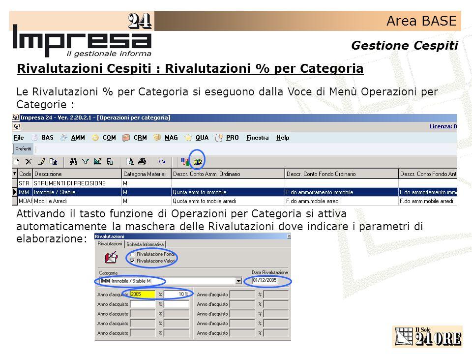 Area BASE Gestione Cespiti Rivalutazioni Cespiti : Rivalutazioni % per Categoria Le Rivalutazioni % per Categoria si eseguono dalla Voce di Menù Opera
