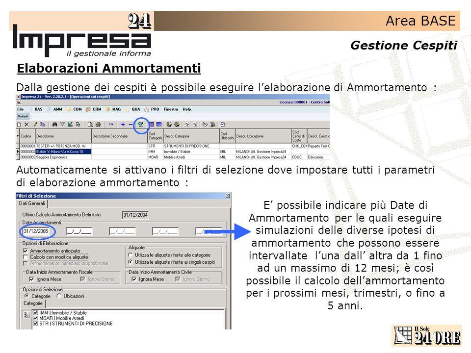 Area BASE Gestione Cespiti Elaborazioni Ammortamenti Dalla gestione dei cespiti è possibile eseguire lelaborazione di Ammortamento : Automaticamente s