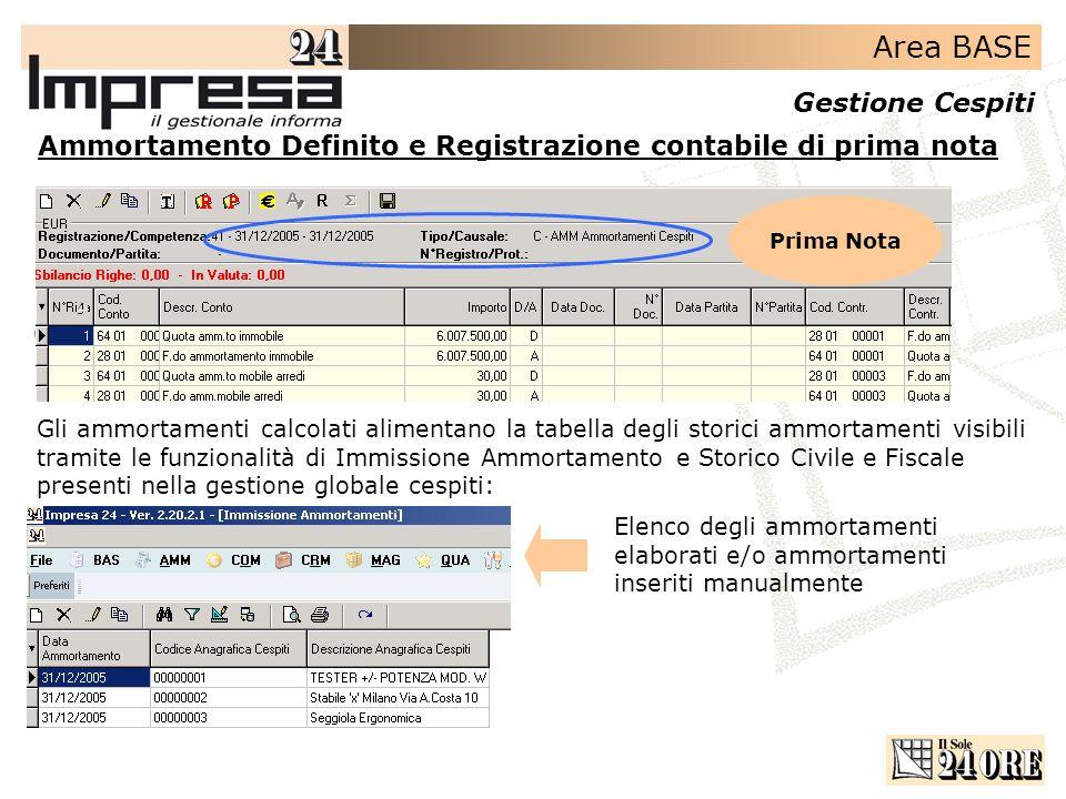 Area BASE Gestione Cespiti Ammortamento Definito e Registrazione contabile di prima nota Prima Nota Gli ammortamenti calcolati alimentano la tabella d