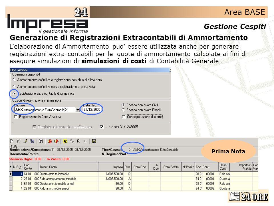 Area BASE Gestione Cespiti Lelaborazione di Ammortamento puo essere utilizzata anche per generare registrazioni extra-contabili per le quote di ammort