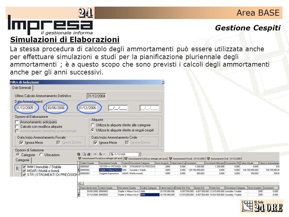 Area BASE Gestione Cespiti La stessa procedura di calcolo degli ammortamenti può essere utilizzata anche per effettuare simulazioni e studi per la pia