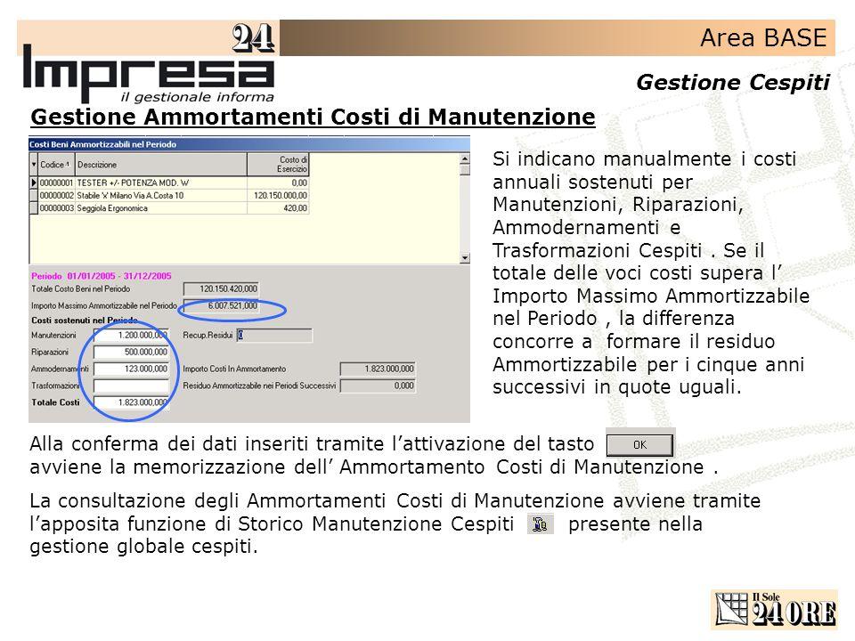 Area BASE Gestione Cespiti Gestione Ammortamenti Costi di Manutenzione Si indicano manualmente i costi annuali sostenuti per Manutenzioni, Riparazioni