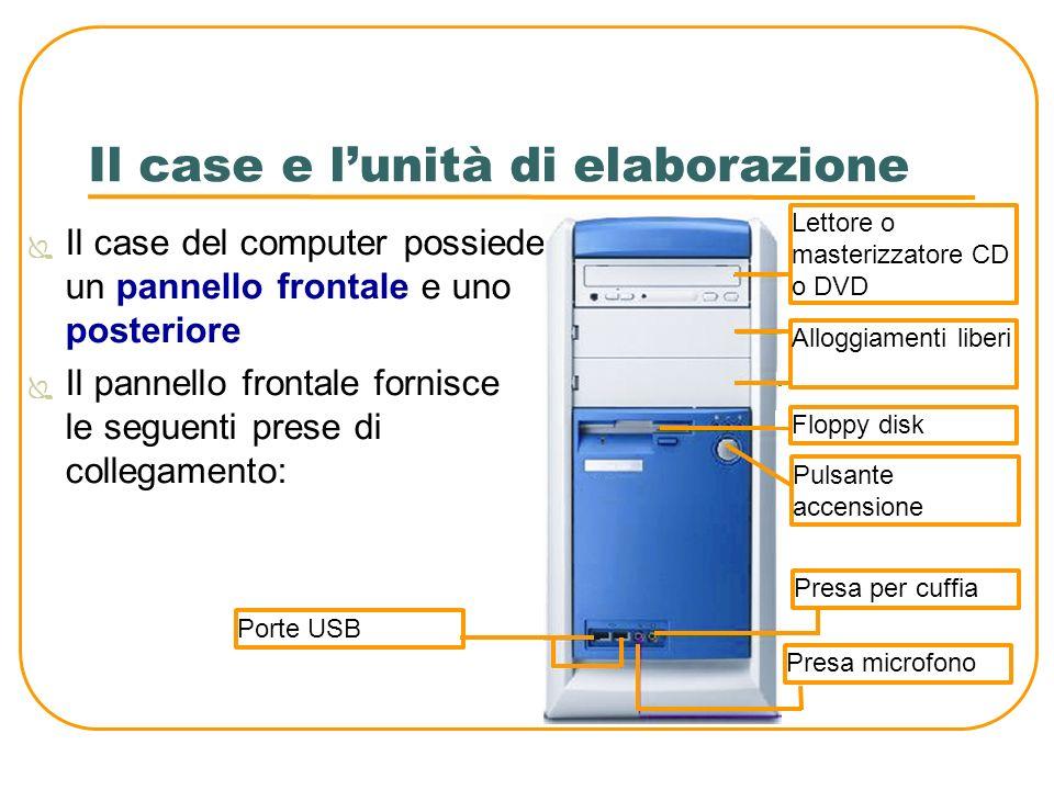 Il case e lunità di elaborazione Il case del computer possiede un pannello frontale e uno posteriore Il pannello frontale fornisce le seguenti prese d
