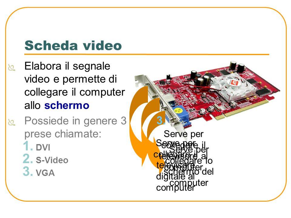 Scheda video Elabora il segnale video e permette di collegare il computer allo schermo Possiede in genere 3 prese chiamate: 1. DVI 2. S-Video 3. VGA S