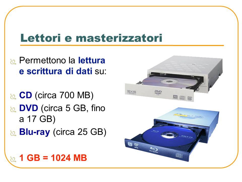 Lettori e masterizzatori Permettono la lettura e scrittura di dati su: CD (circa 700 MB) DVD (circa 5 GB, fino a 17 GB) Blu-ray (circa 25 GB) 1 GB = 1
