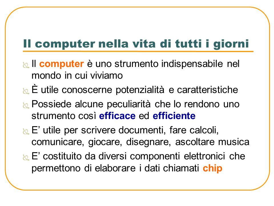 Il computer nella vita di tutti i giorni Il computer è uno strumento indispensabile nel mondo in cui viviamo È utile conoscerne potenzialità e caratte
