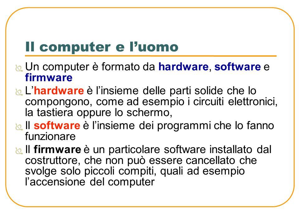 Il computer e luomo Il computer è composto da una unità centrale di elaborazione (CPU) che svolge un compito analogo al cervello umano Analogamente alluomo che possiede i 5 sensi, il computer comunica con il mondo esterno attraverso le periferiche: la tastiera, il mouse, lo scanner, la stampante, il monitor ecc