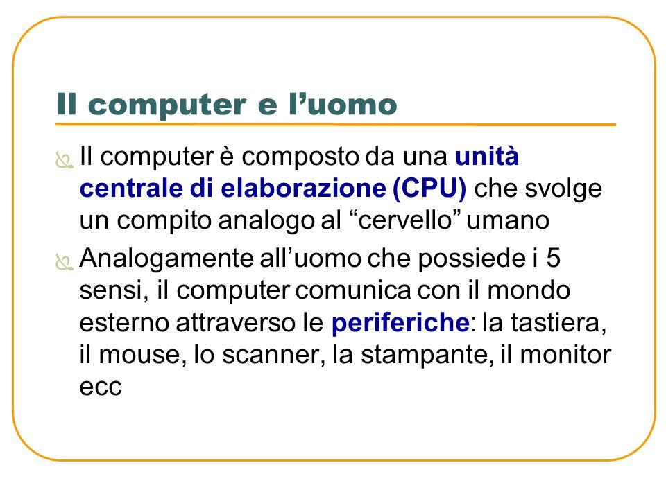 Il computer e luomo Il computer è composto da una unità centrale di elaborazione (CPU) che svolge un compito analogo al cervello umano Analogamente al