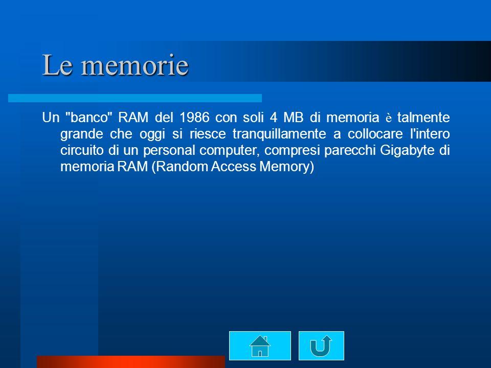 Le memorie Un banco RAM del 1986 con soli 4 MB di memoria è talmente grande che oggi si riesce tranquillamente a collocare l intero circuito di un personal computer, compresi parecchi Gigabyte di memoria RAM (Random Access Memory)