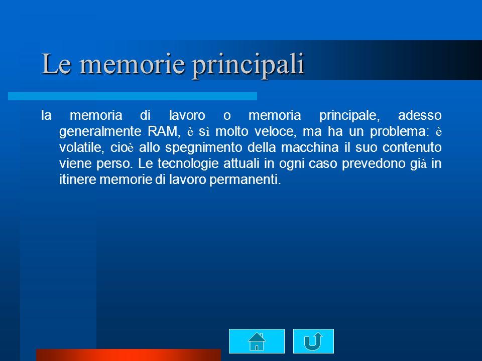 Le memorie principali la memoria di lavoro o memoria principale, adesso generalmente RAM, è s ì molto veloce, ma ha un problema: è volatile, cio è allo spegnimento della macchina il suo contenuto viene perso.