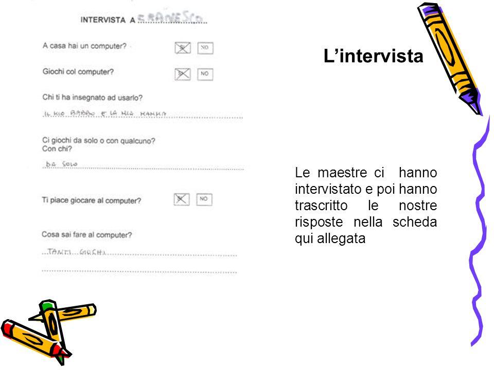 Le maestre ci hanno intervistato e poi hanno trascritto le nostre risposte nella scheda qui allegata Lintervista