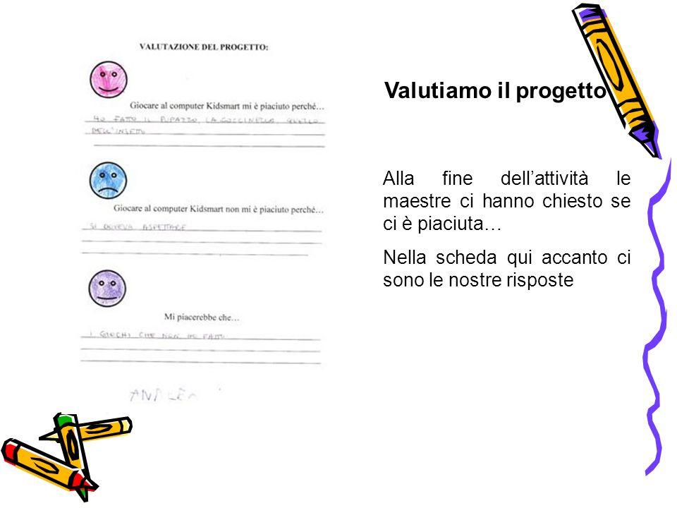 Valutiamo il progetto Alla fine dellattività le maestre ci hanno chiesto se ci è piaciuta… Nella scheda qui accanto ci sono le nostre risposte